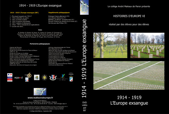 Jaquette DVD 2008 -- Histoire d'Europe VI -- 1914-1919 L'Europe exsangue